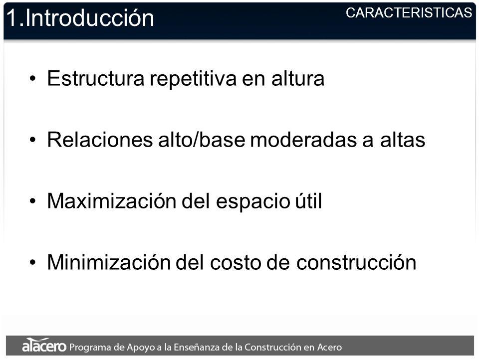 CARACTERISTICAS 1.Introducción Estructura repetitiva en altura Relaciones alto/base moderadas a altas Maximización del espacio útil Minimización del costo de construcción