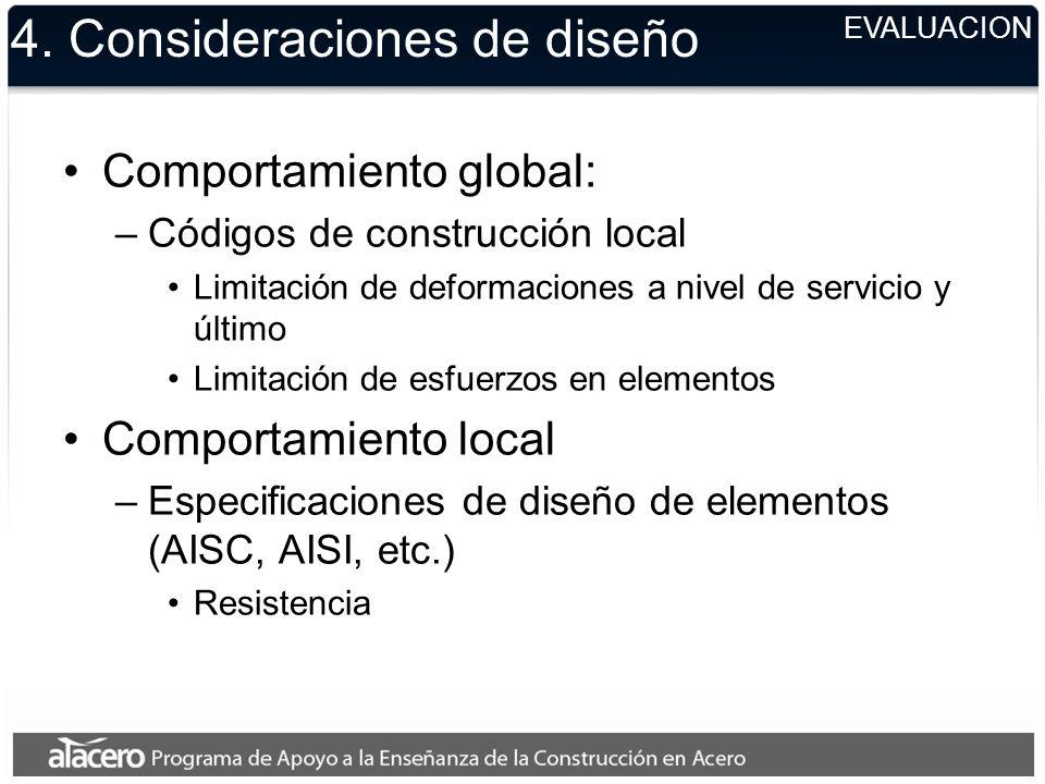 4. Consideraciones de diseño Comportamiento global: –Códigos de construcción local Limitación de deformaciones a nivel de servicio y último Limitación