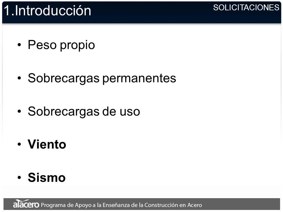 SOLICITACIONES 1.Introducción Peso propio Sobrecargas permanentes Sobrecargas de uso Viento Sismo
