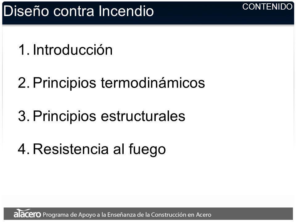 CONTENIDO Diseño contra Incendio 1.Introducción 2.Principios termodinámicos 3.Principios estructurales 4.Resistencia al fuego