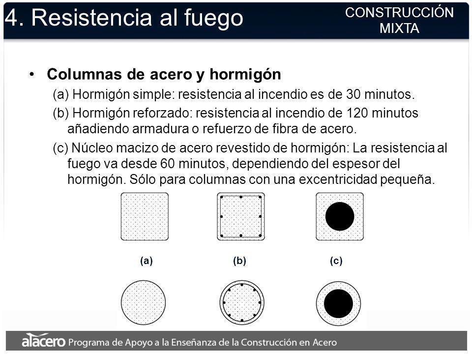 Columnas de acero y hormigón (a) Hormigón simple: resistencia al incendio es de 30 minutos. (b) Hormigón reforzado: resistencia al incendio de 120 min