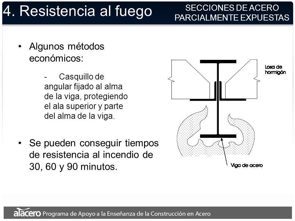 Algunos métodos económicos: Se pueden conseguir tiempos de resistencia al incendio de 30, 60 y 90 minutos. -Casquillo de angular fijado al alma de la