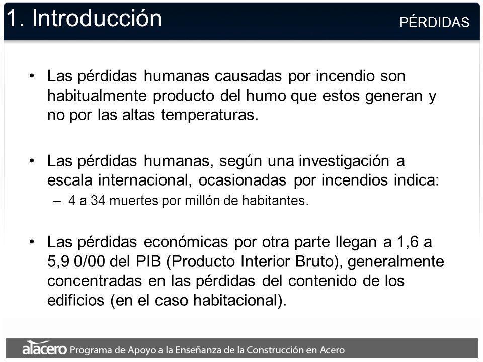 1. Introducción Las pérdidas humanas causadas por incendio son habitualmente producto del humo que estos generan y no por las altas temperaturas. Las