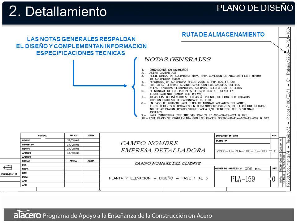 RUTA DE ALMACENAMIENTO LAS NOTAS GENERALES RESPALDAN EL DISEÑO Y COMPLEMENTAN INFORMACION ESPECIFICACIONES TECNICAS 2.