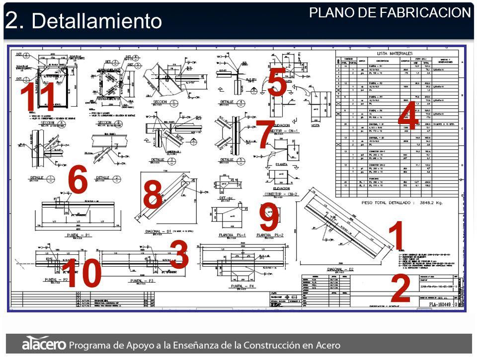 2. Detallamiento 1 2 3 4 5 6 7 8 9 10 11 PLANO DE FABRICACION