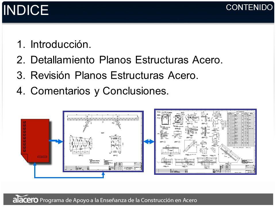 CONTENIDO INDICE 1.Introducción.2.Detallamiento Planos Estructuras Acero.