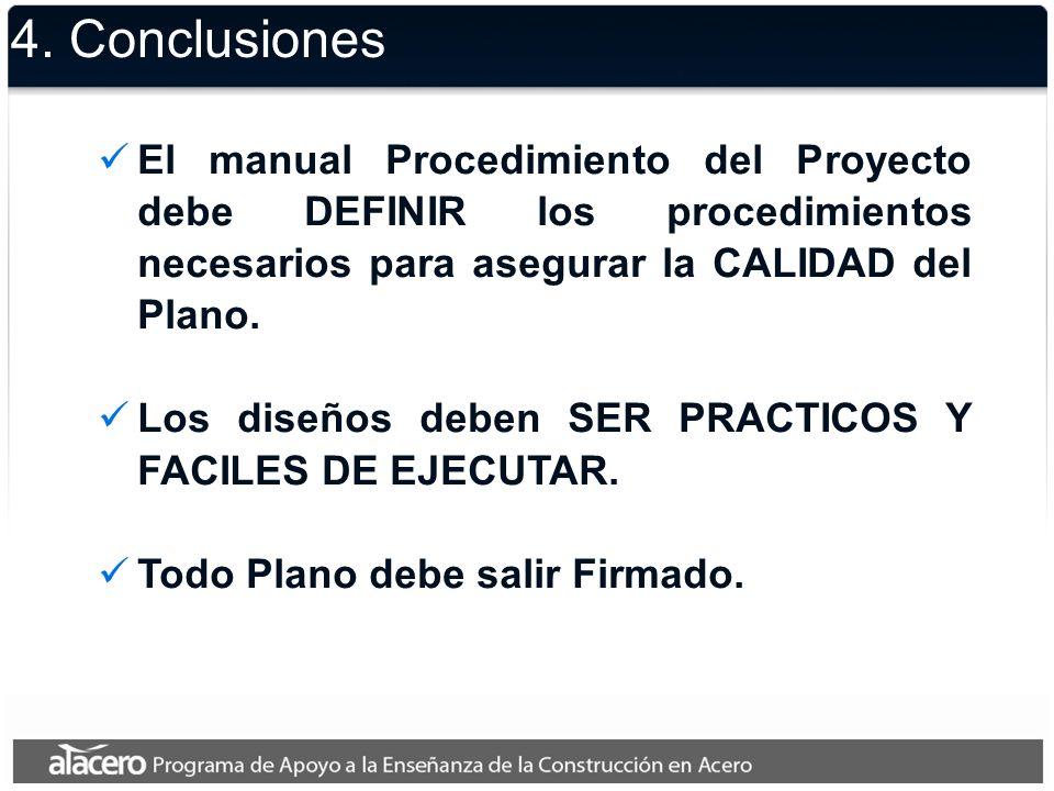 4. Conclusiones El manual Procedimiento del Proyecto debe DEFINIR los procedimientos necesarios para asegurar la CALIDAD del Plano. Los diseños deben