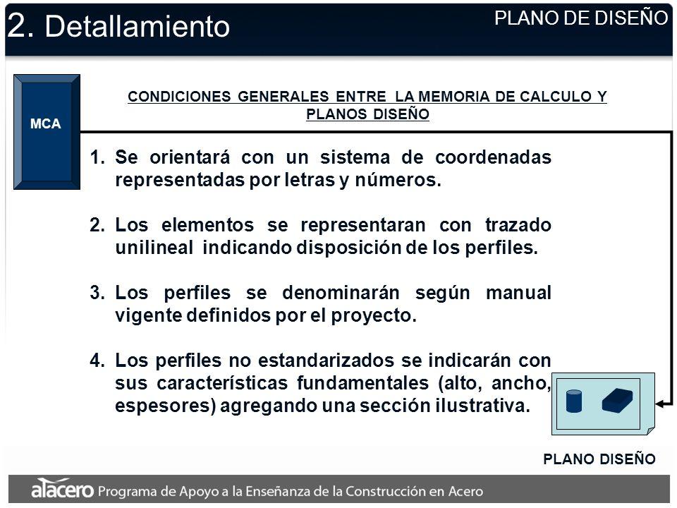 2. Detallamiento PLANO DISEÑO MCA CONDICIONES GENERALES ENTRE LA MEMORIA DE CALCULO Y PLANOS DISEÑO 1.Se orientará con un sistema de coordenadas repre