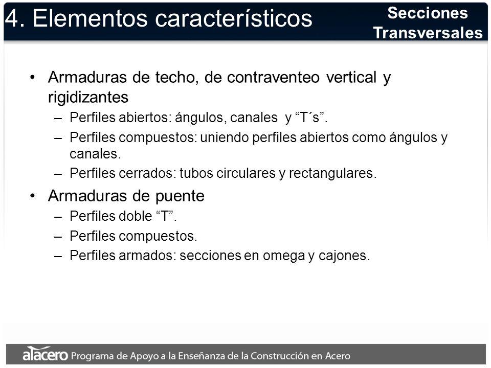 4. Elementos característicos Armaduras de techo, de contraventeo vertical y rigidizantes –Perfiles abiertos: ángulos, canales y T´s. –Perfiles compues