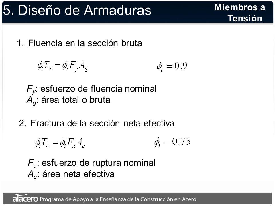 5. Diseño de Armaduras 1.Fluencia en la sección bruta F y : esfuerzo de fluencia nominal A g : área total o bruta 2.Fractura de la sección neta efecti
