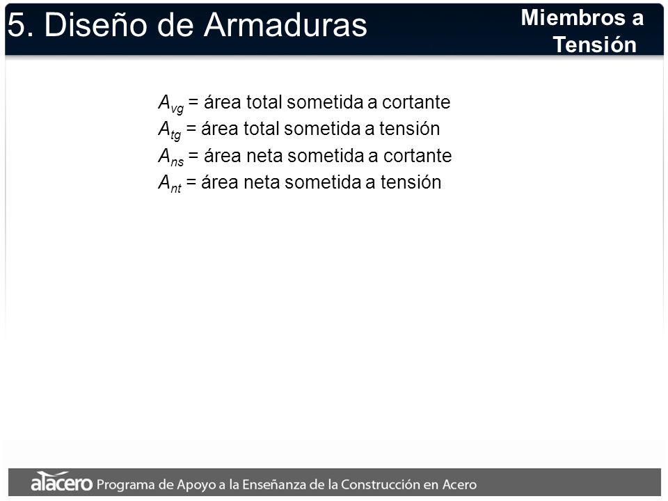 5. Diseño de Armaduras A vg = área total sometida a cortante A tg = área total sometida a tensión A ns = área neta sometida a cortante A nt = área net