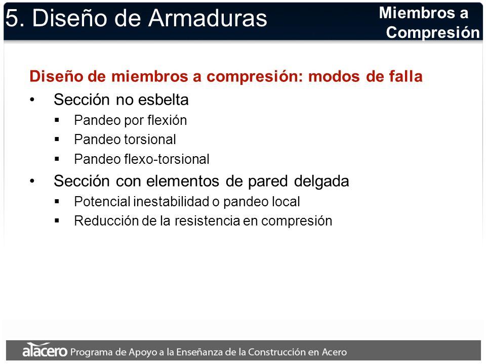 5. Diseño de Armaduras Diseño de miembros a compresión: modos de falla Sección no esbelta Pandeo por flexión Pandeo torsional Pandeo flexo-torsional S