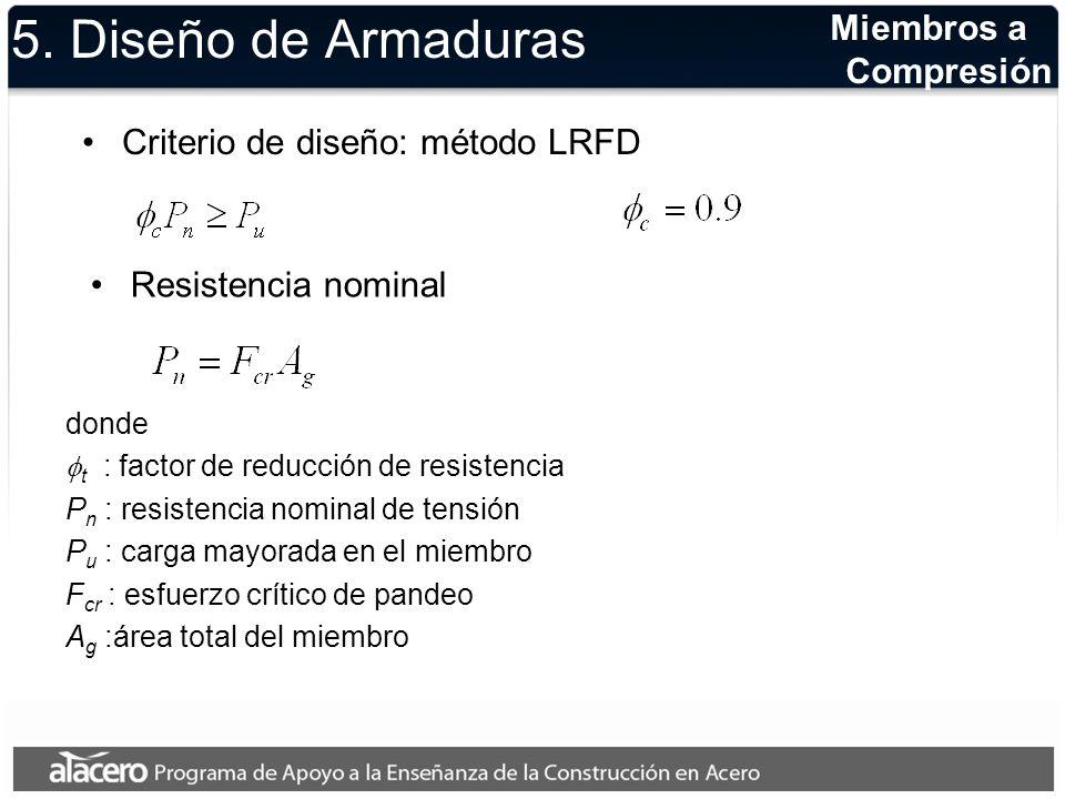 5. Diseño de Armaduras Criterio de diseño: método LRFD Miembros a Compresión donde t : factor de reducción de resistencia P n : resistencia nominal de