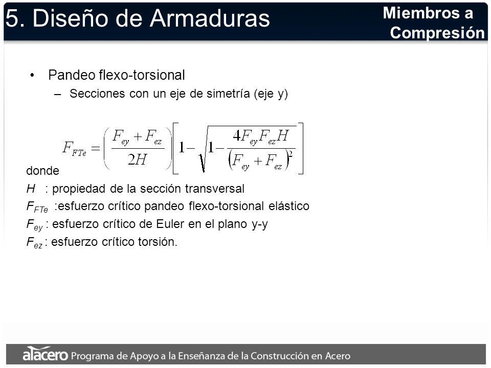 5. Diseño de Armaduras Pandeo flexo-torsional –Secciones con un eje de simetría (eje y) donde H : propiedad de la sección transversal F FTe :esfuerzo