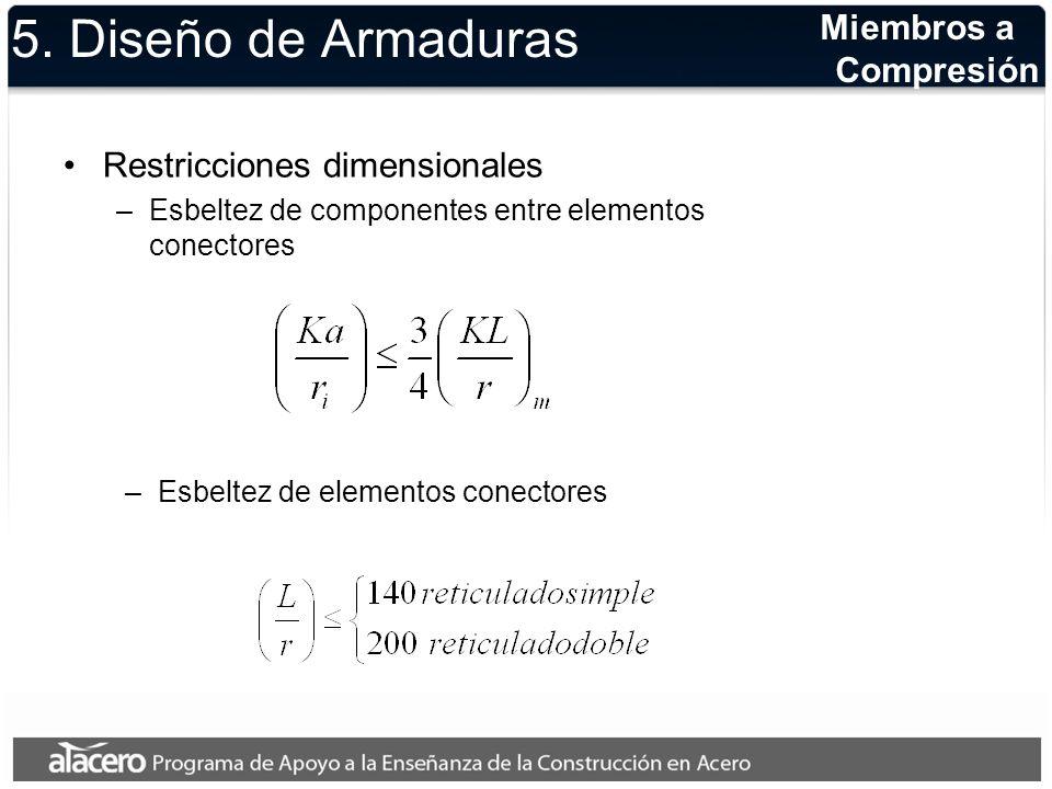 5. Diseño de Armaduras Restricciones dimensionales –Esbeltez de componentes entre elementos conectores –Esbeltez de elementos conectores Miembros a Co