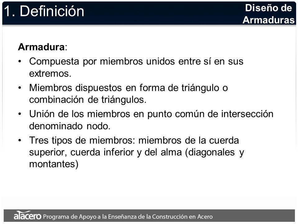 Diseño de Armaduras 1. Definición Armadura: Compuesta por miembros unidos entre sí en sus extremos. Miembros dispuestos en forma de triángulo o combin