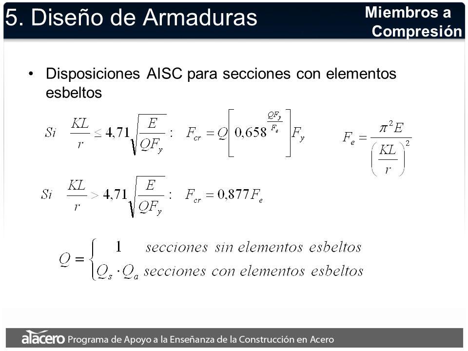 5. Diseño de Armaduras Disposiciones AISC para secciones con elementos esbeltos Miembros a Compresión