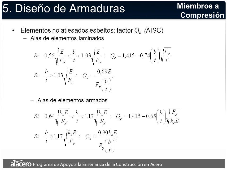 5. Diseño de Armaduras Miembros a Compresión Elementos no atiesados esbeltos: factor Q s (AISC) –Alas de elementos laminados –Alas de elementos armado