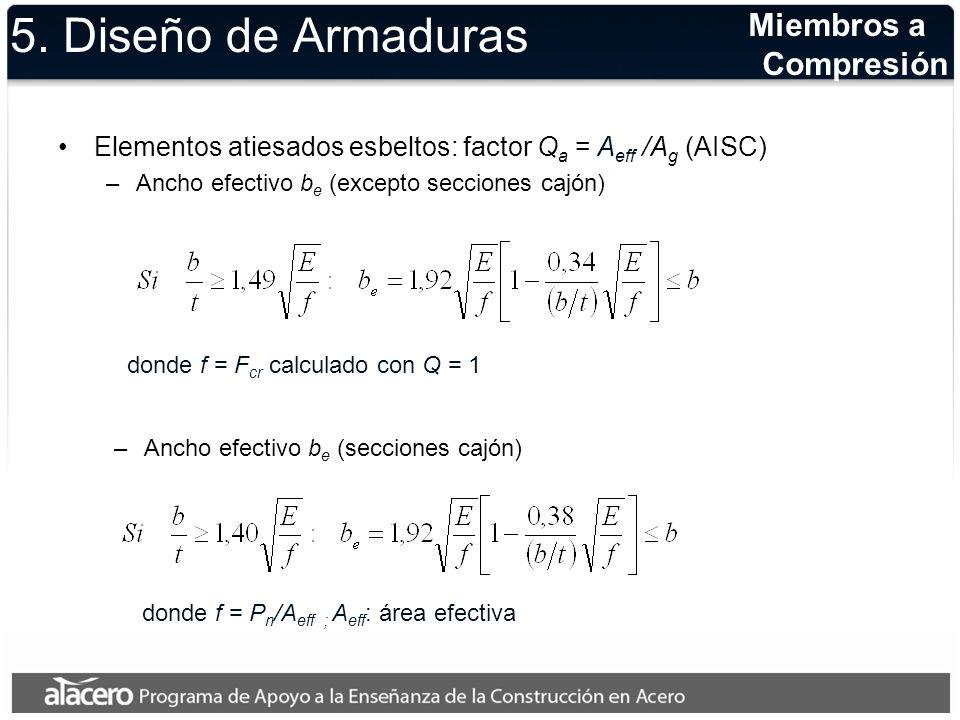 5. Diseño de Armaduras Elementos atiesados esbeltos: factor Q a = A eff /A g (AISC) –Ancho efectivo b e (excepto secciones cajón) Miembros a Compresió
