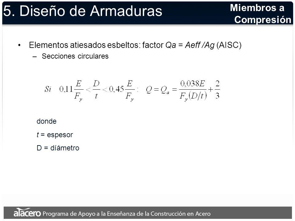5. Diseño de Armaduras Elementos atiesados esbeltos: factor Qa = Aeff /Ag (AISC) –Secciones circulares Miembros a Compresión donde t = espesor D = díá