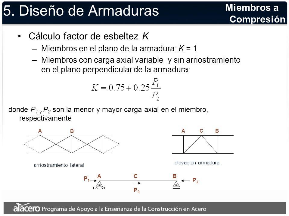 5. Diseño de Armaduras Cálculo factor de esbeltez K –Miembros en el plano de la armadura: K = 1 –Miembros con carga axial variable y sin arriostramien