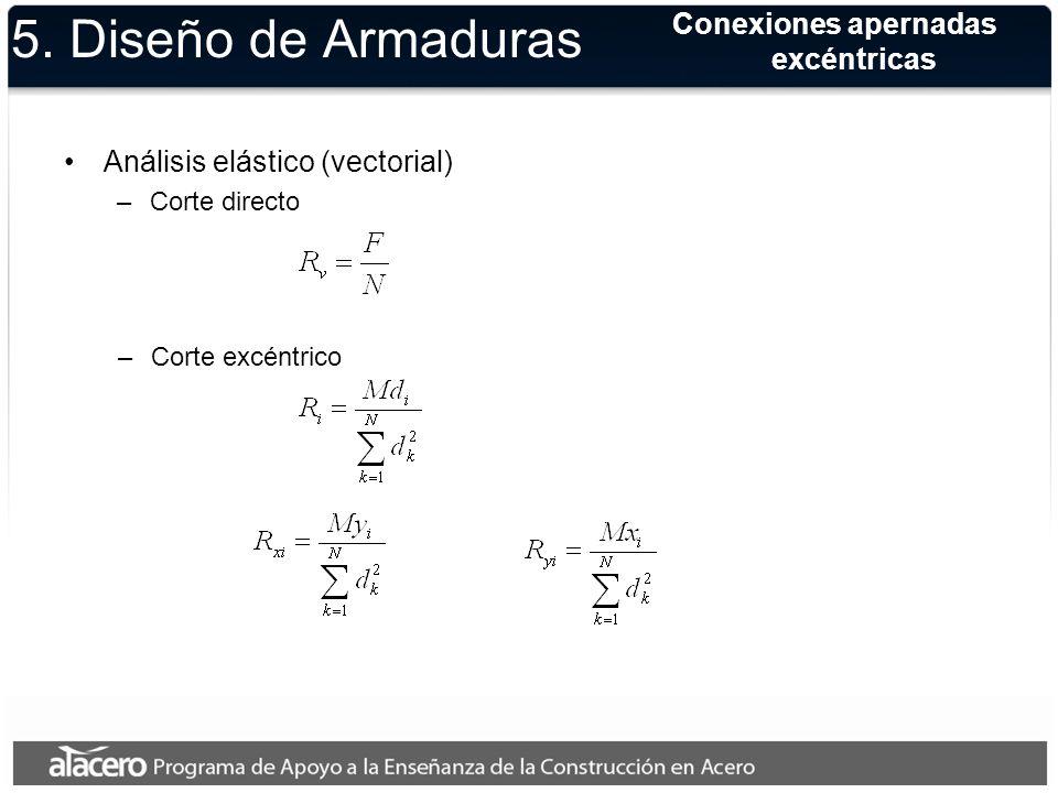 5. Diseño de Armaduras Análisis elástico (vectorial) –Corte directo –Corte excéntrico Conexiones apernadas excéntricas
