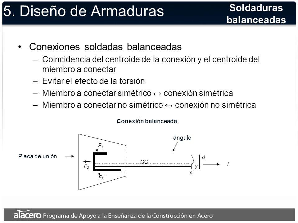 5. Diseño de Armaduras Conexiones soldadas balanceadas –Coincidencia del centroide de la conexión y el centroide del miembro a conectar –Evitar el efe
