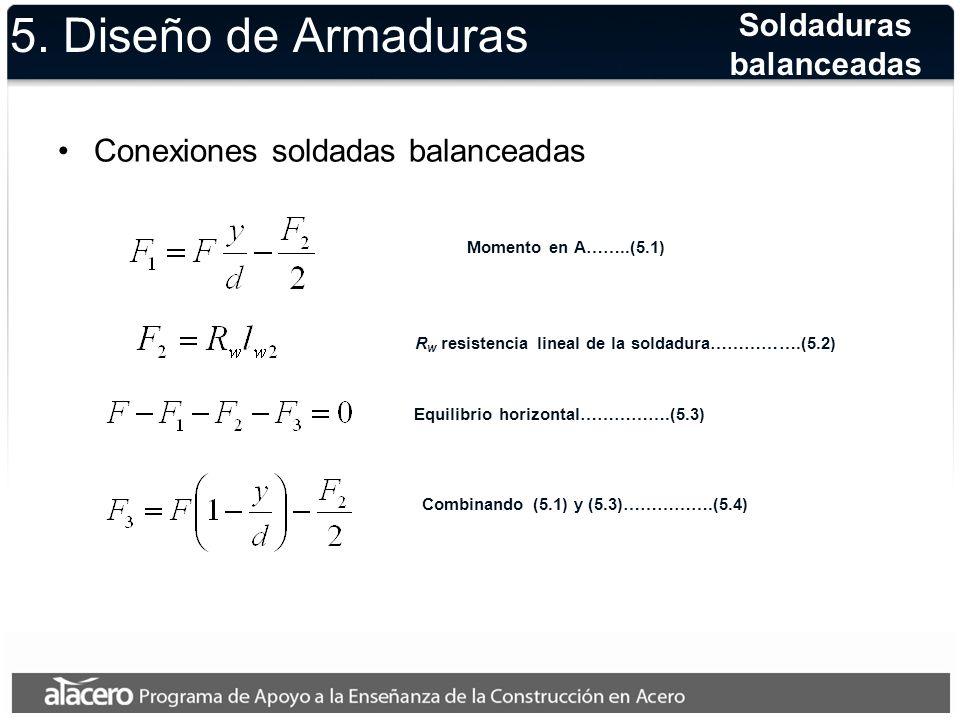 5. Diseño de Armaduras Conexiones soldadas balanceadas Soldaduras balanceadas Momento en A……..(5.1) R w resistencia lineal de la soldadura…………….(5.2)