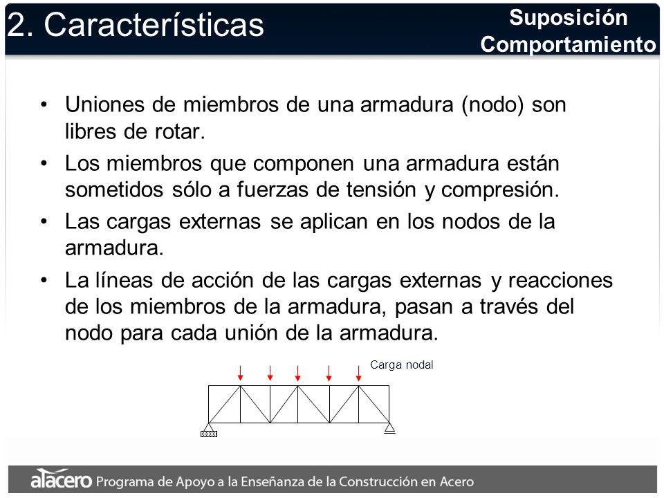 2. Características Suposición Comportamiento Uniones de miembros de una armadura (nodo) son libres de rotar. Los miembros que componen una armadura es