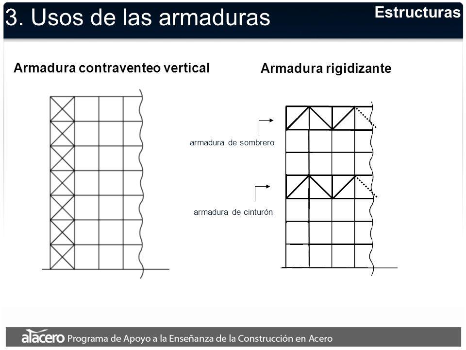 3. Usos de las armaduras Estructuras Armadura contraventeo vertical Armadura rigidizante armadura de cinturón armadura de sombrero