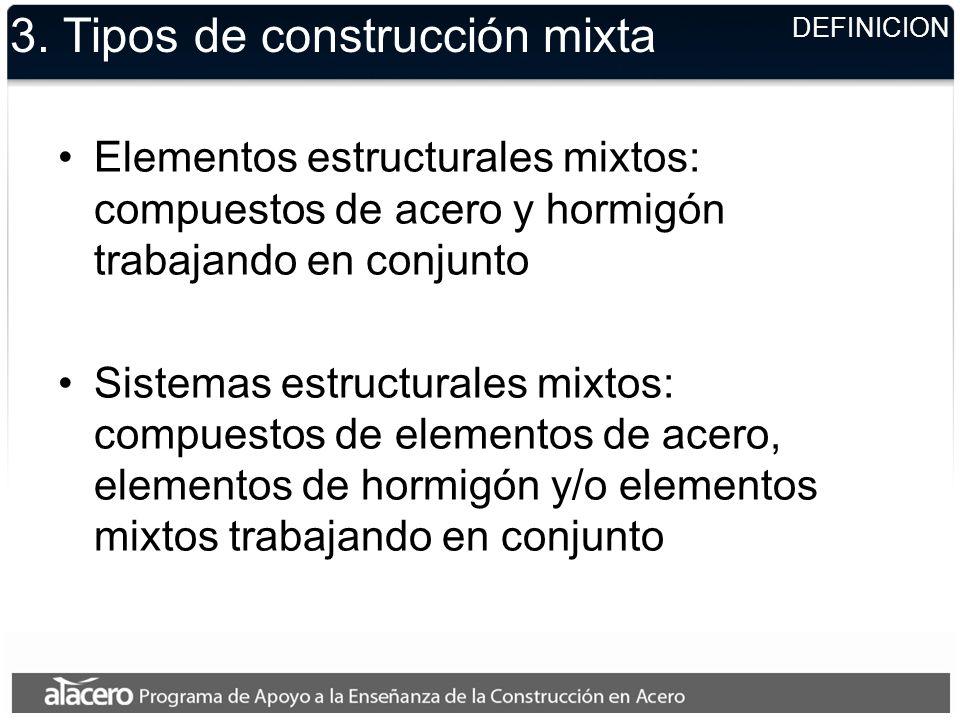 3. Tipos de construcción mixta Elementos estructurales mixtos: compuestos de acero y hormigón trabajando en conjunto Sistemas estructurales mixtos: co