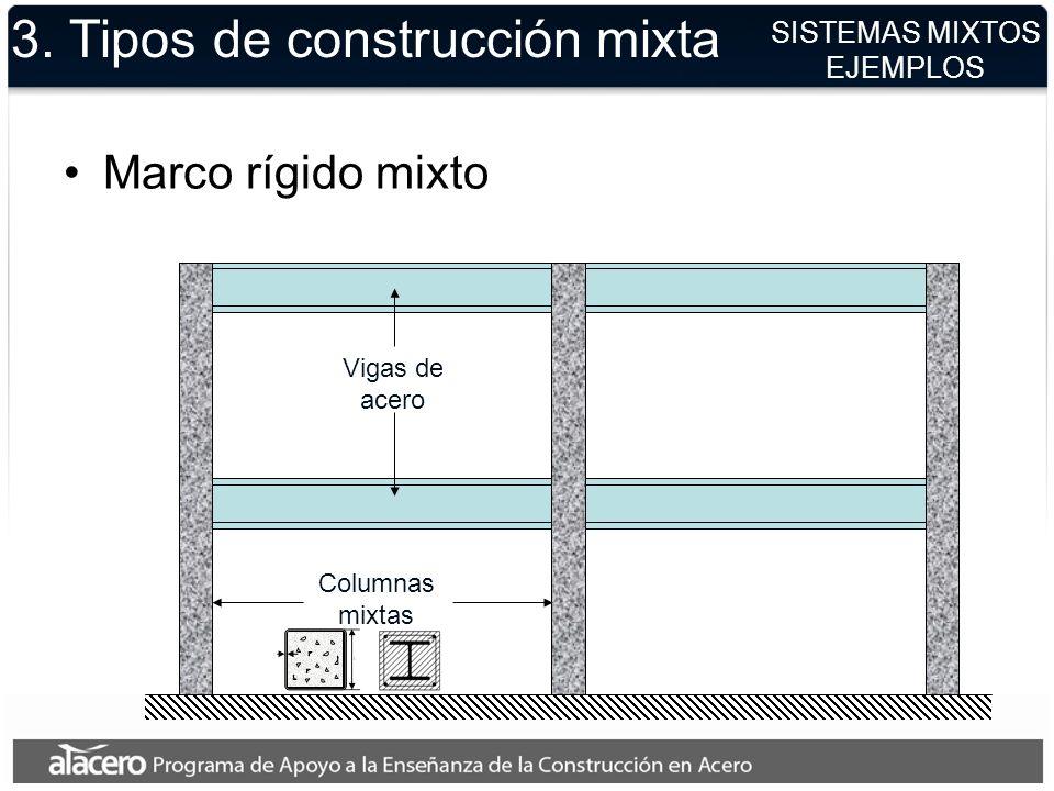 3. Tipos de construcción mixta Marco rígido mixto Columnas mixtas Vigas de acero SISTEMAS MIXTOS EJEMPLOS