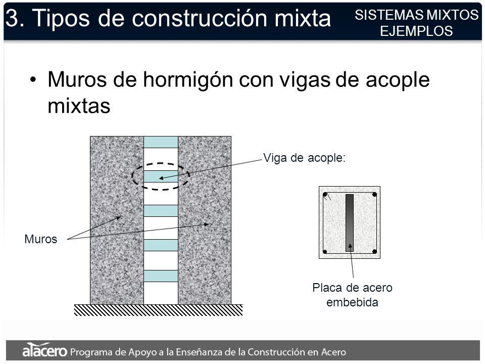 3. Tipos de construcción mixta Muros de hormigón con vigas de acople mixtas SISTEMAS MIXTOS EJEMPLOS Muros Viga de acople: Placa de acero embebida