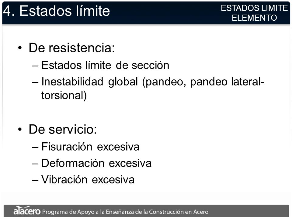 4. Estados límite De resistencia: –Estados límite de sección –Inestabilidad global (pandeo, pandeo lateral- torsional) De servicio: –Fisuración excesi