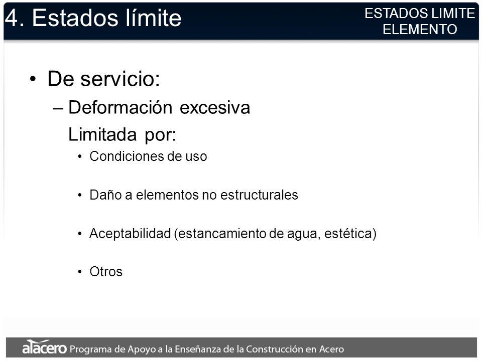 4. Estados límite De servicio: –Deformación excesiva Limitada por: Condiciones de uso Daño a elementos no estructurales Aceptabilidad (estancamiento d