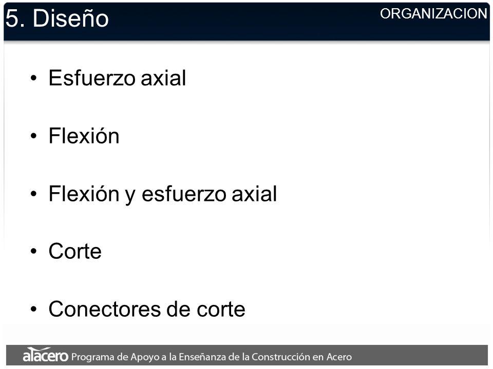 ORGANIZACION 5. Diseño Esfuerzo axial Flexión Flexión y esfuerzo axial Corte Conectores de corte