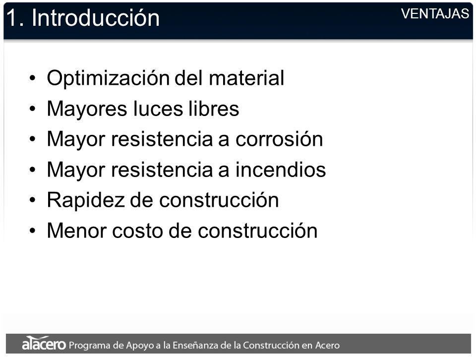 VENTAJAS 1. Introducción Optimización del material Mayores luces libres Mayor resistencia a corrosión Mayor resistencia a incendios Rapidez de constru