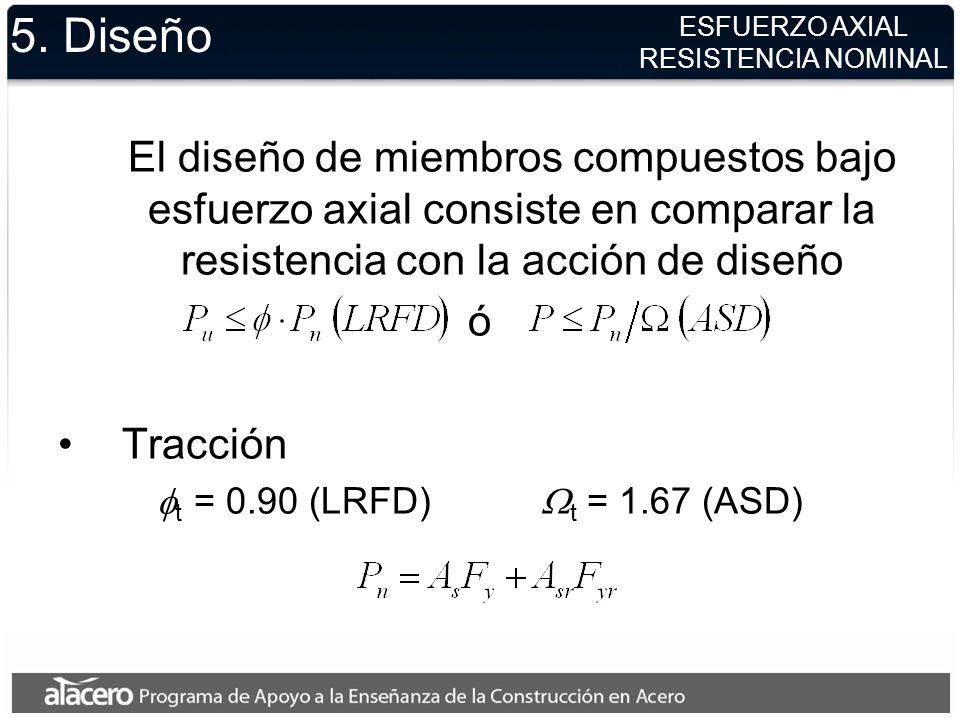 5. Diseño El diseño de miembros compuestos bajo esfuerzo axial consiste en comparar la resistencia con la acción de diseño ó Tracción t = 0.90 (LRFD)