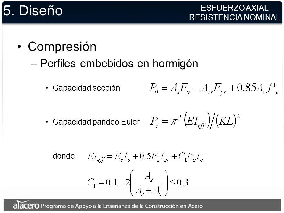 5. Diseño Compresión –Perfiles embebidos en hormigón Capacidad sección Capacidad pandeo Euler donde ESFUERZO AXIAL RESISTENCIA NOMINAL