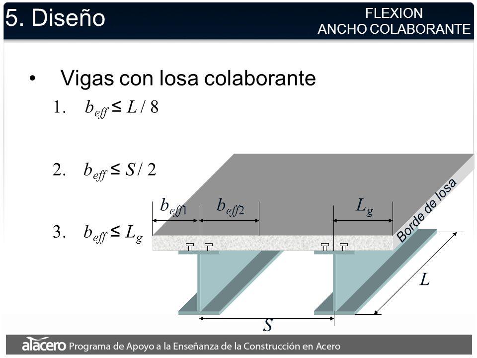 5. Diseño Vigas con losa colaborante 1. b eff L / 8 2. b eff S / 2 3. b eff L g FLEXION ANCHO COLABORANTE L S LgLg b eff2 b eff1 Borde de losa