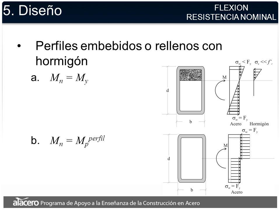 5. Diseño Perfiles embebidos o rellenos con hormigón a. M n = M y b. M n = M p perfil FLEXION RESISTENCIA NOMINAL