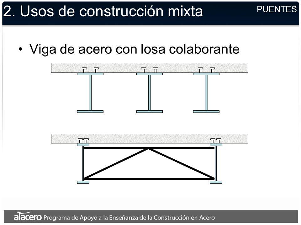 2. Usos de construcción mixta Viga de acero con losa colaborante PUENTES