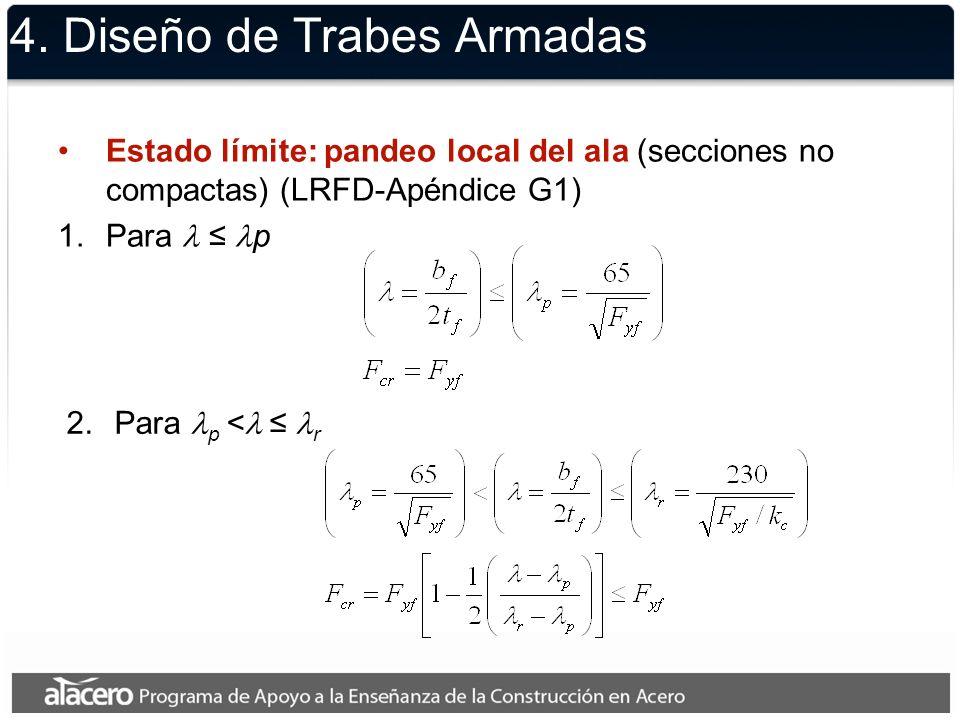 4. Diseño de Trabes Armadas Estado límite: pandeo local del ala (secciones no compactas) (LRFD-Apéndice G1) 1.Para p 2.Para p < r