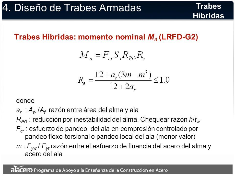 4. Diseño de Trabes Armadas Trabes Híbridas: momento nominal M n (LRFD-G2) Trabes Híbridas donde a r : A w /A f razón entre área del alma y ala R PG :