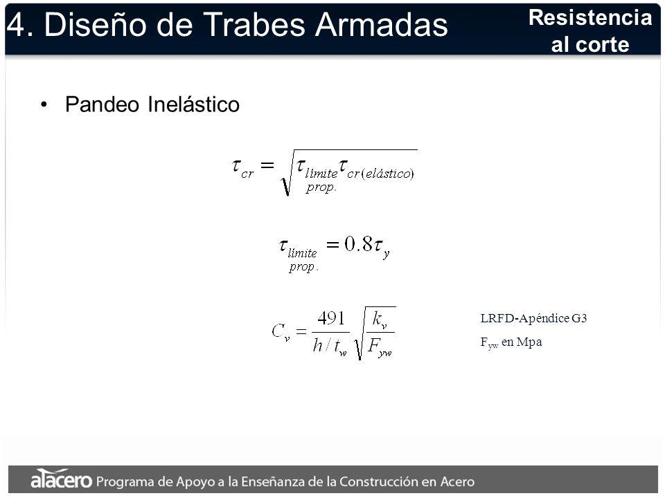 4. Diseño de Trabes Armadas Pandeo Inelástico Resistencia al corte LRFD-Apéndice G3 F yw en Mpa