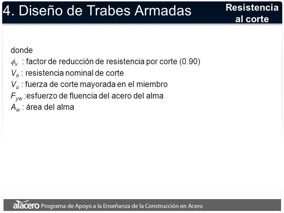 4. Diseño de Trabes Armadas donde v : factor de reducción de resistencia por corte (0.90) V n : resistencia nominal de corte V u : fuerza de corte may