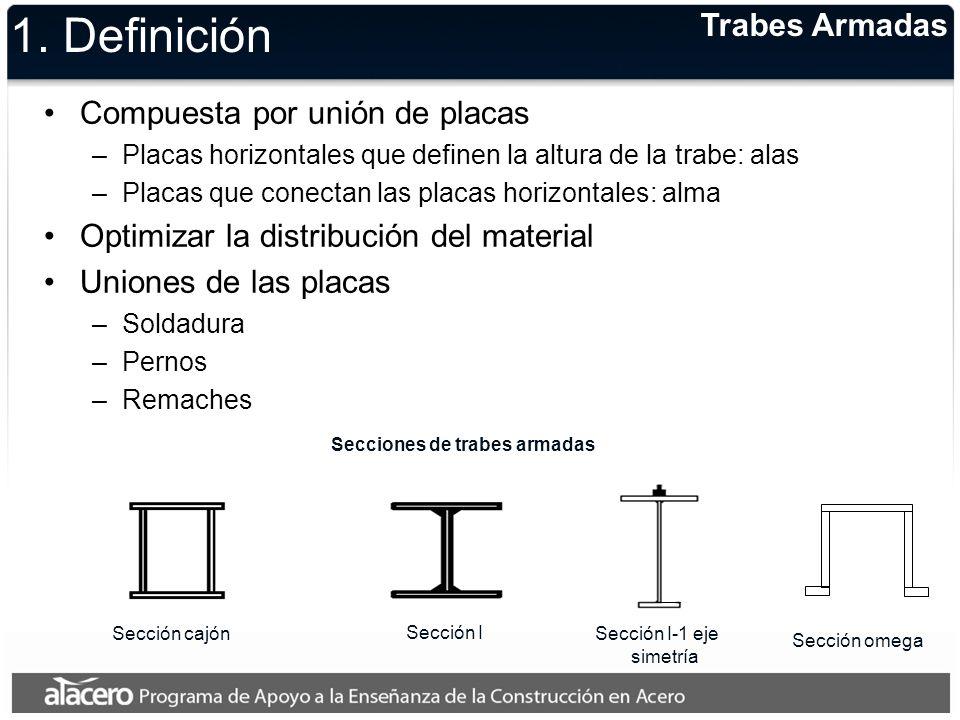 1. Definición Compuesta por unión de placas –Placas horizontales que definen la altura de la trabe: alas –Placas que conectan las placas horizontales: