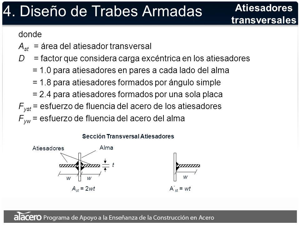 4. Diseño de Trabes Armadas donde A st = área del atiesador transversal D = factor que considera carga excéntrica en los atiesadores = 1.0 para atiesa