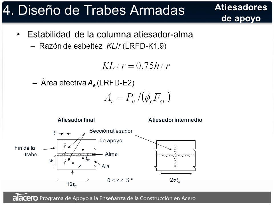 4. Diseño de Trabes Armadas Estabilidad de la columna atiesador-alma –Razón de esbeltez KL/r (LRFD-K1.9) Atiesadores de apoyo –Área efectiva A e (LRFD