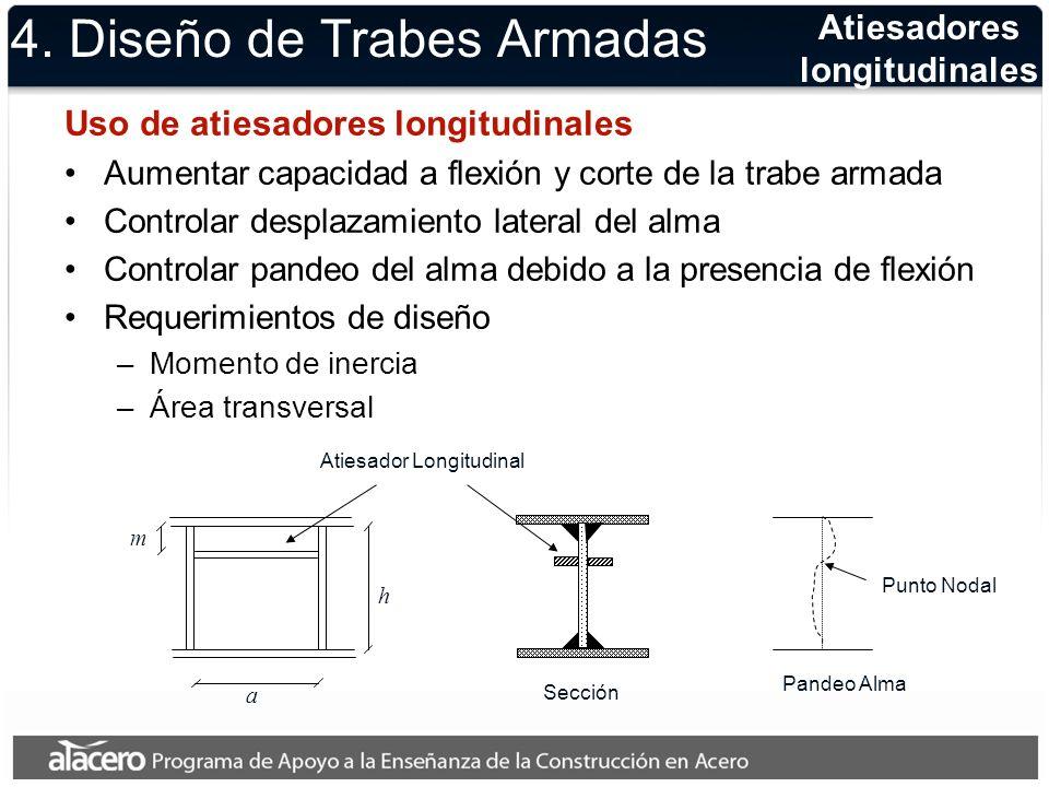 4. Diseño de Trabes Armadas Uso de atiesadores longitudinales Aumentar capacidad a flexión y corte de la trabe armada Controlar desplazamiento lateral